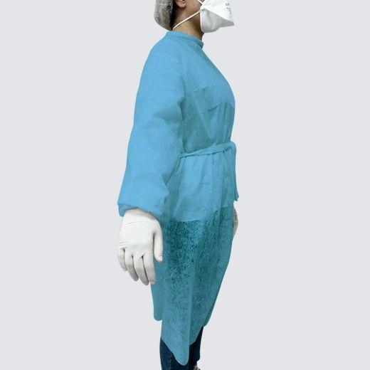 Bata protectora TNT de un solo uso color azul