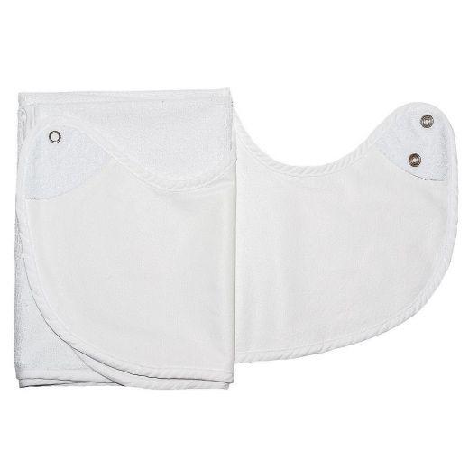 Babero para adulto blanco Rizo/PVC con corchetes