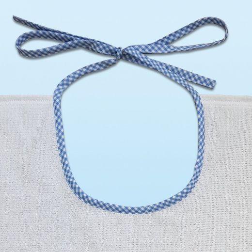 Babero para adulto lavable rizo 100% algodón con cierre de lazo vichy