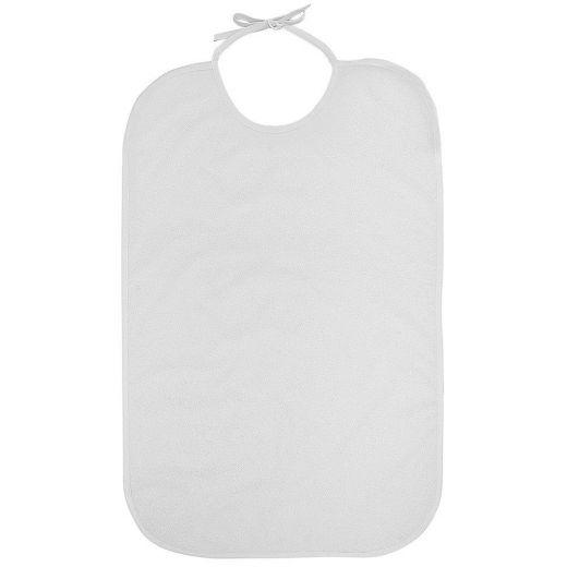 Babero para adulto blanco Rizo/PVC Lazo