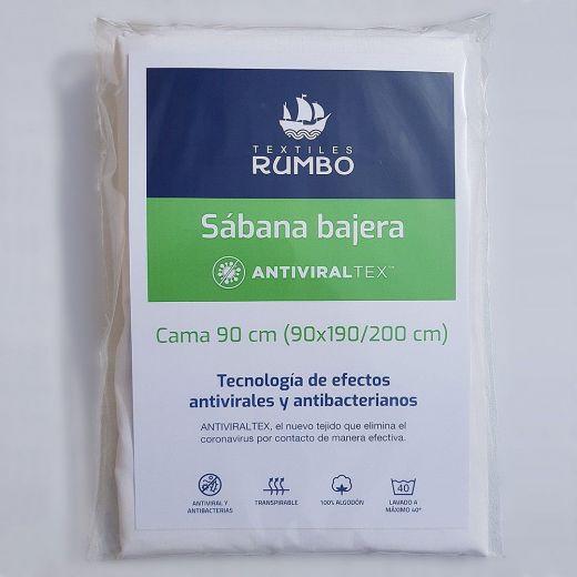 Sábana bajera ajustable AntiviralTex blanca percal Algodón de 150 hilos