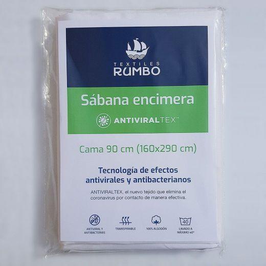 Sábana encimera AntiviralTex blanca percal Algodón de 150 hilos