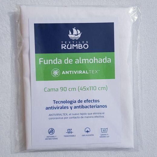 Funda almohada AntiviralTex blanca percal Algodón de 150 hilos